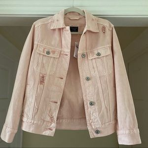 Abercrombie light pink oversized denim jacket